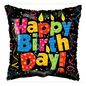 Happy Birthday Candle And Confetti Square Foil Balloons 18 In