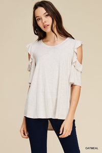 Brooke Ruffle Sleeve Top - Oatmeal