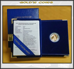 1991 Tenth Ounce Proof Gold American Eagle Original Government Packaging