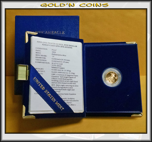 1992 Tenth Ounce Proof Gold American Eagle Original Government Packaging