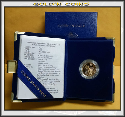 1993 Quarter Ounce Proof Gold American Eagle Original Government Packaging