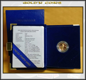 1993 Tenth Ounce Proof Gold American Eagle Original Government Packaging