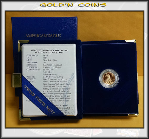 1994 Tenth Ounce Proof Gold American Eagle Original Government Packaging