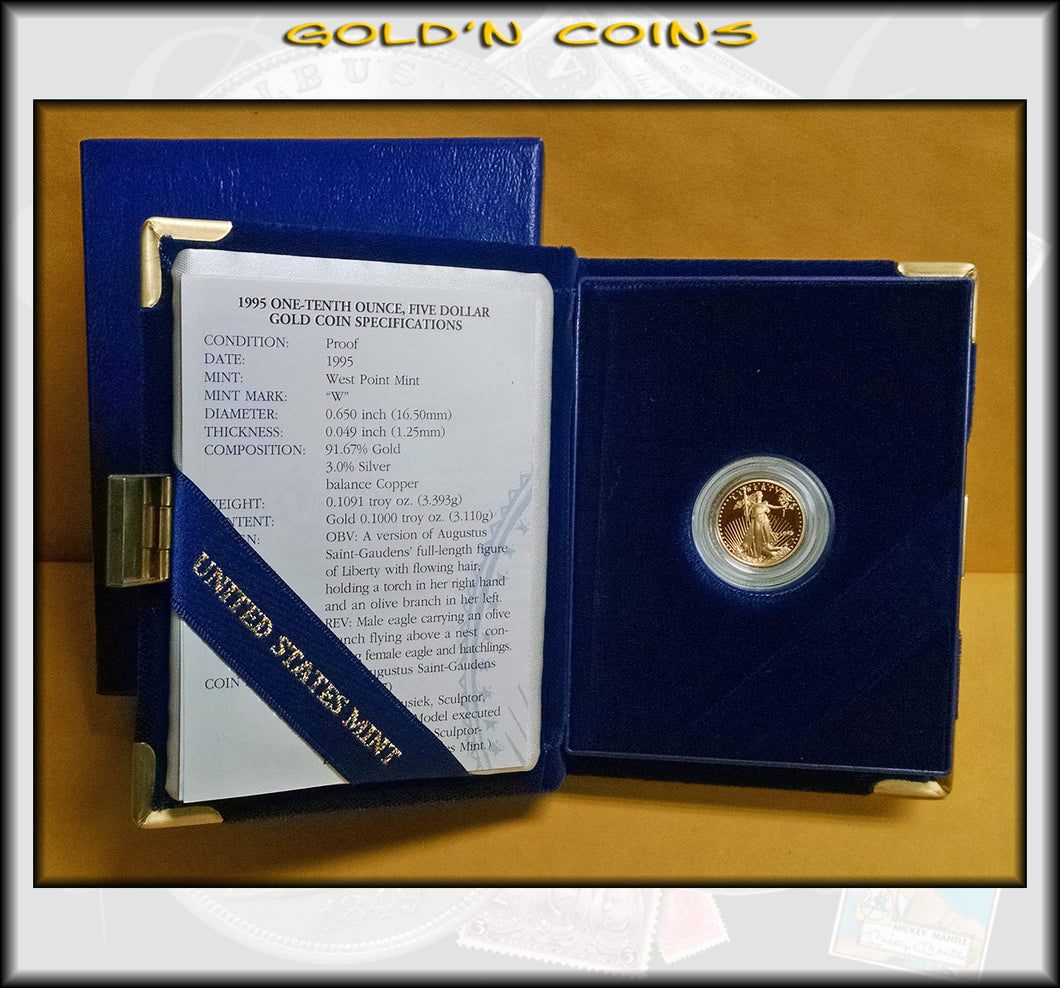 1995 Tenth Ounce Proof Gold American Eagle Original Government Packaging
