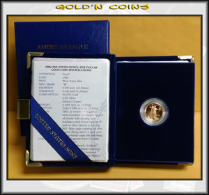 1996 Tenth Ounce Proof Gold American Eagle Original Government Packaging