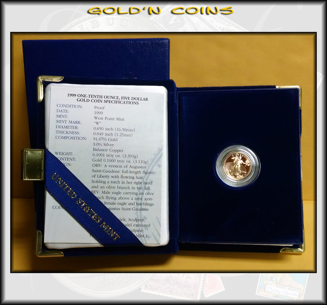 1999 Tenth Ounce Proof Gold American Eagle Original Government Packaging