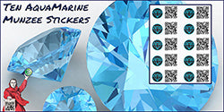 Aquamarine Munzee Stickers - 10 Pack