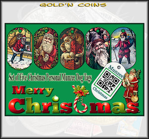 Merry Christmas Personal Munzee 5pc Dog Tag Set