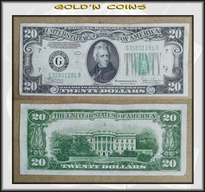1934 C United States $20 Federal Reserve Note Green Seal