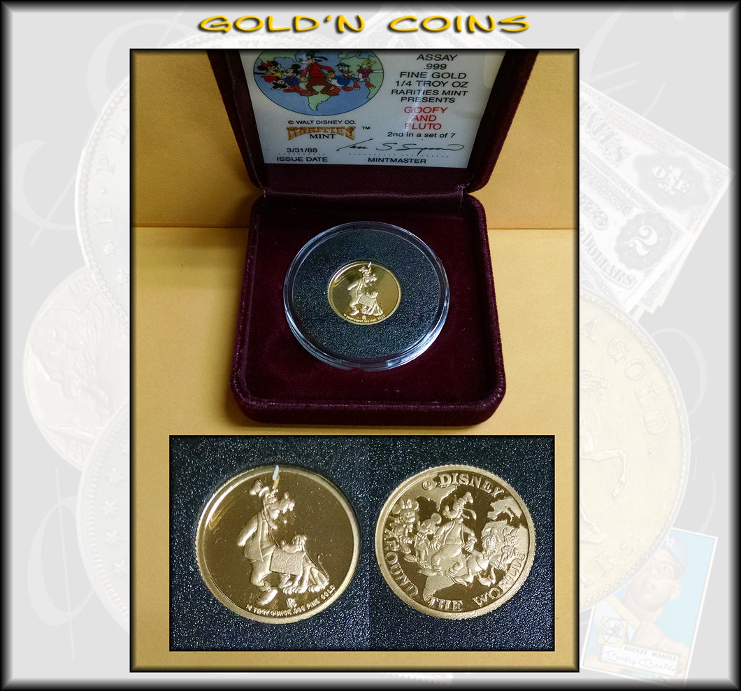 Disney 1/4 oz GOLD - Goofy & Pluto