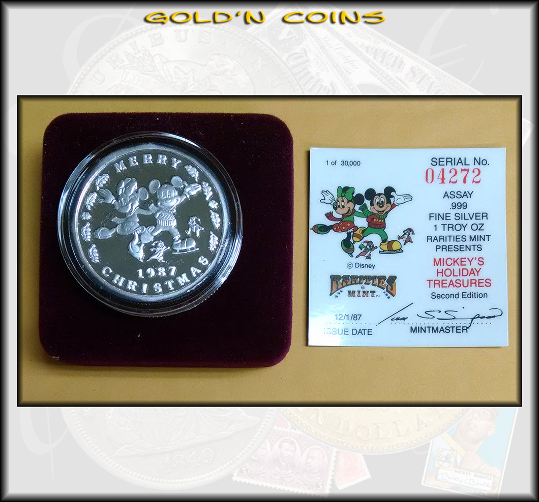 1987 One Ounce Silver Disney Collector Coin Mickey's Holiday Christmas