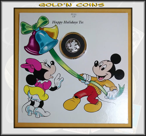 1990 Tenth Ounce Silver Disney Collector Coin Mickey's Holiday Christmas