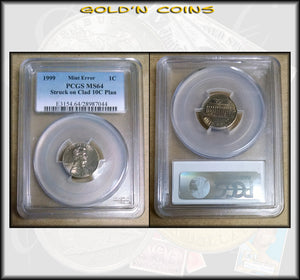 1999 Lincoln Cent Mint Error Struck on Clad 10C Planchet PCGS MS64