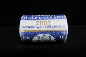 2001-D KENNEDY HALF DOLLARS - TWENTY IN ORIGINAL U.S. MINT WRAPPED ROLL