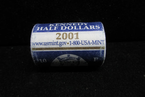 2001-P KENNEDY HALF DOLLARS IN ORIGINAL U.S. MINT ROLL