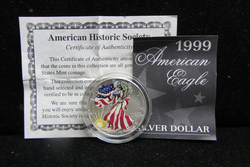 1999 1 OUNCE SILVER EAGLE - COLORIZED OBVERSE