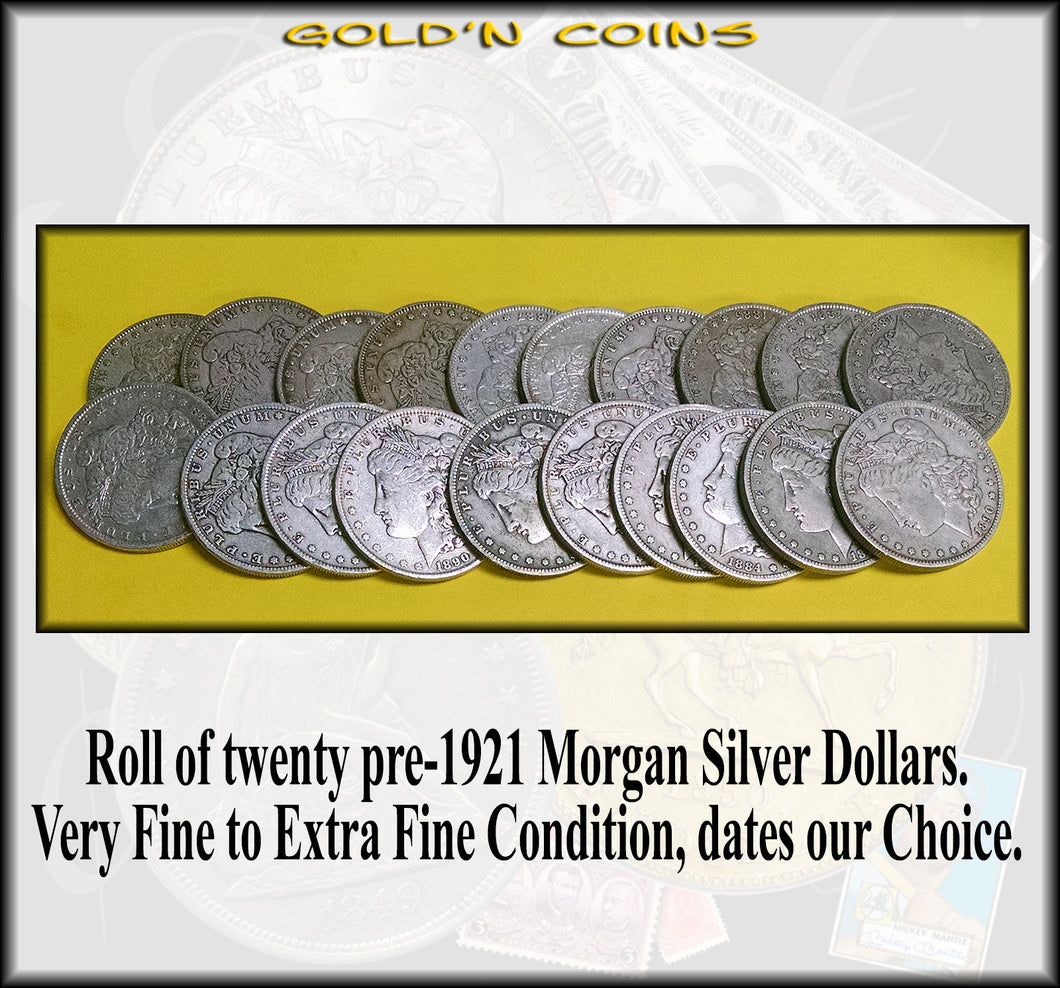 Roll of 20 Pre-1921 Morgan Silver Dollars Very Fine to Extra Fine