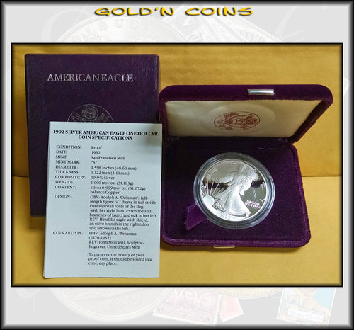 1992 Proof Silver Eagle in Original Government Packaging