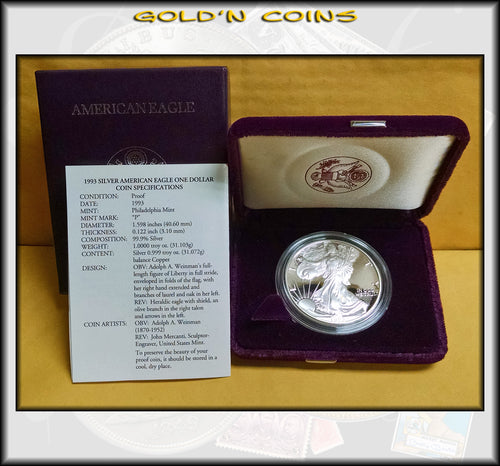 1993 Proof Silver Eagle in Original Government Packaging