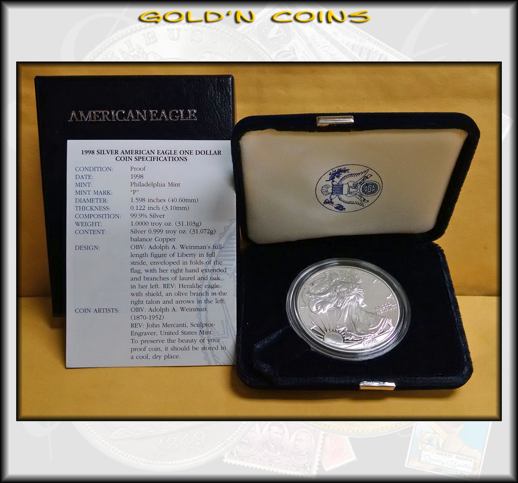 1998 Proof Silver Eagle in Original Government Packaging
