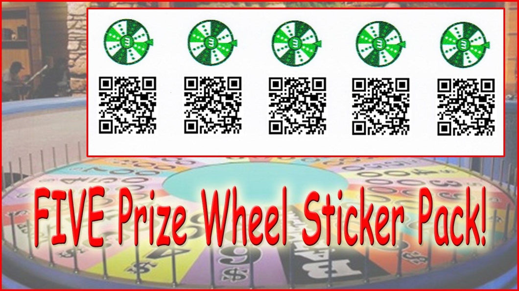 Prize Wheel Munzee Stickers - 5 Pack