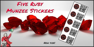 Ruby Munzee Stickers - 5 Pack