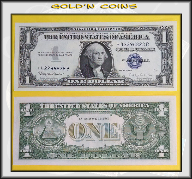 1957-B Silver Certificate $1 STAR Note – Gold\'n Coins & Jewelry