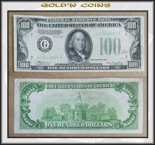 1934 United States $100 Federal Reserve Note Green Seal