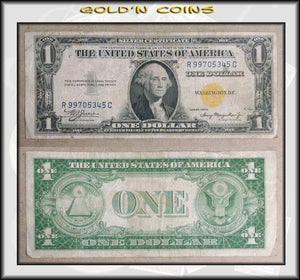 1935-A North Africa Yellow Seal Emergency WWII $1 Silver Certificate
