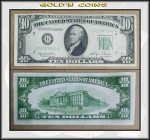1950 United States $10 Federal Reserve Note Green Seal
