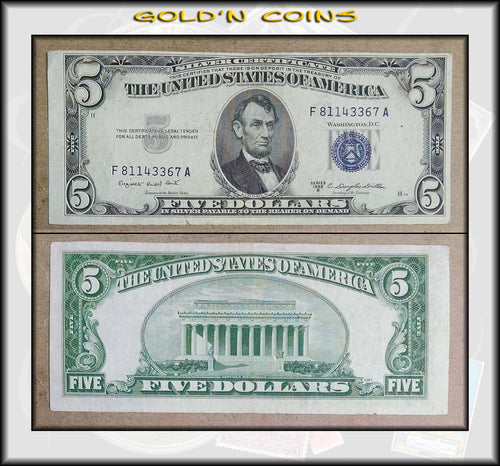 1953 B United States $5 Silver Certificate