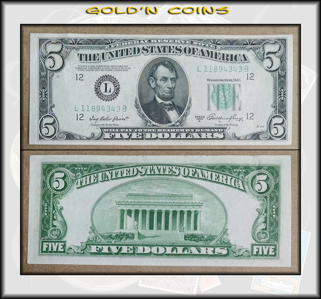 1950 A United States $5 Federal Reserve Note