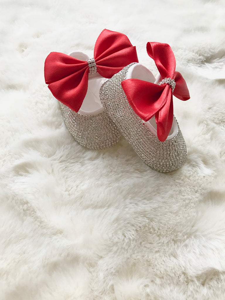 Baby Girl Red/Bling Crib Shoes