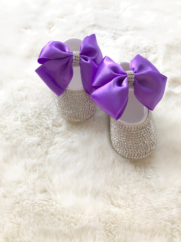 Baby Girl Purple Bow Swarovski Crib Shoes