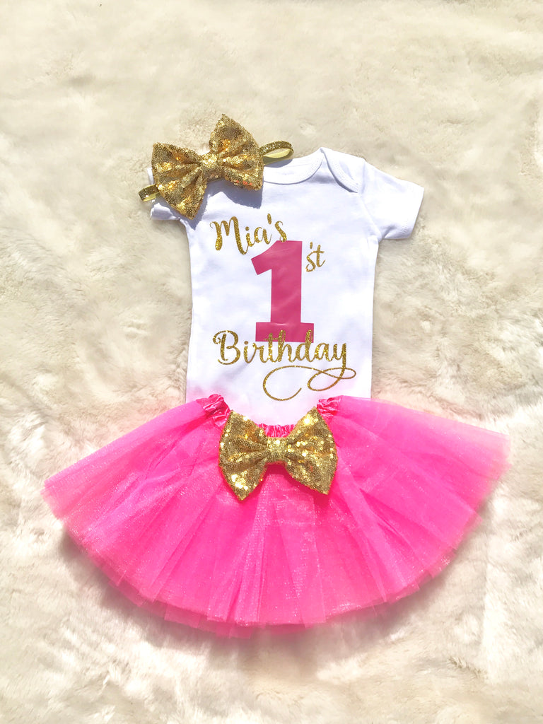 Baby Girl Personalized First Birthday Outfit