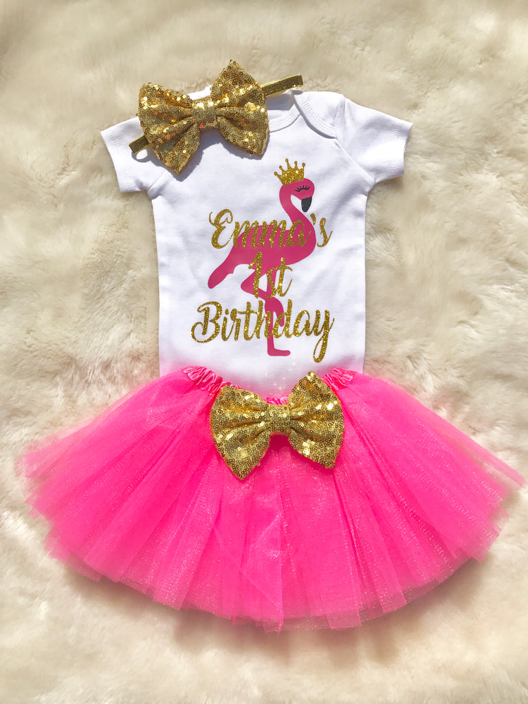 Baby Girl Flamingo Birthday Outfit