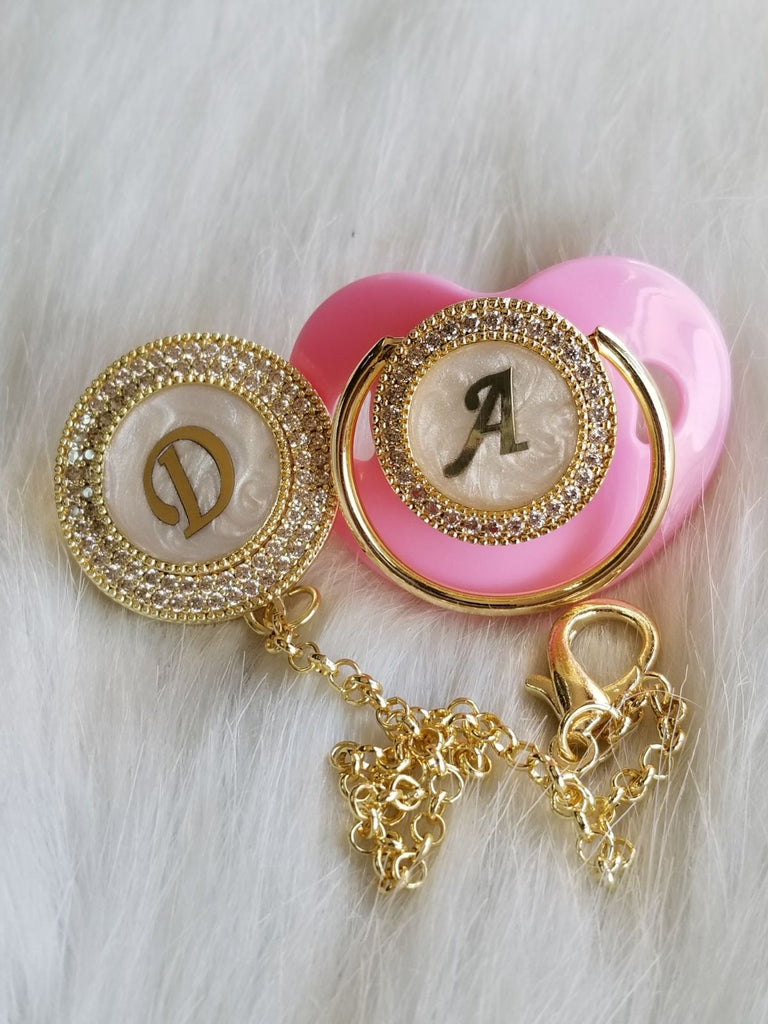 Pink Initial Pacifier Set