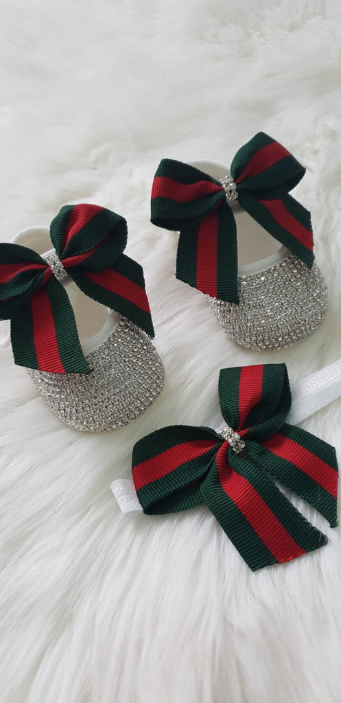 Red & Green Bow Shoe Set