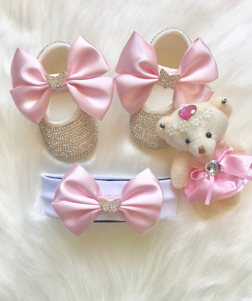 Pink Bow Swarovski Crib Shoes