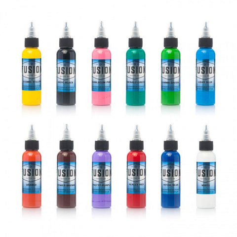 tattoo ink set of 12 Fusion Sample Colour Set 60ml (2oz) - MickyBee tattoo supplies