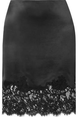 GIVENCHY Lace-trimmed silk-satin skirt