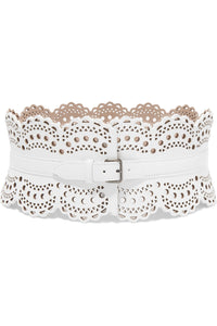 ALAÏA Laser-cut textured-leather waist belt