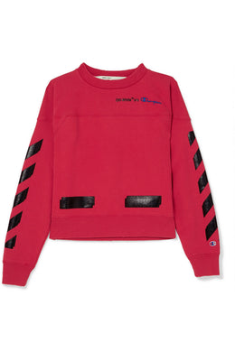 OFF-WHITE + Champion printed cotton-blend jersey sweatshirt