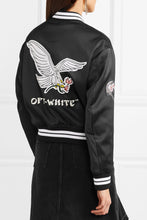 OFF-WHITE Appliquéd satin bomber jacket