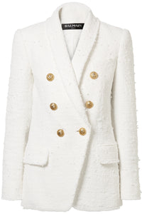BALMAIN Double-breasted bouclé-tweed blazer
