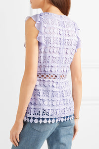 MICHAEL MICHAEL KORS-Ruffled chiffon and guipure lace top