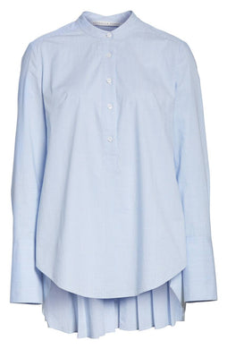 VERONICA BEARD-Greer Pleated Stretch Cotton Shirt