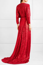 JENNY PACKHAM Velvet-trimmed sequined silk wrap gown