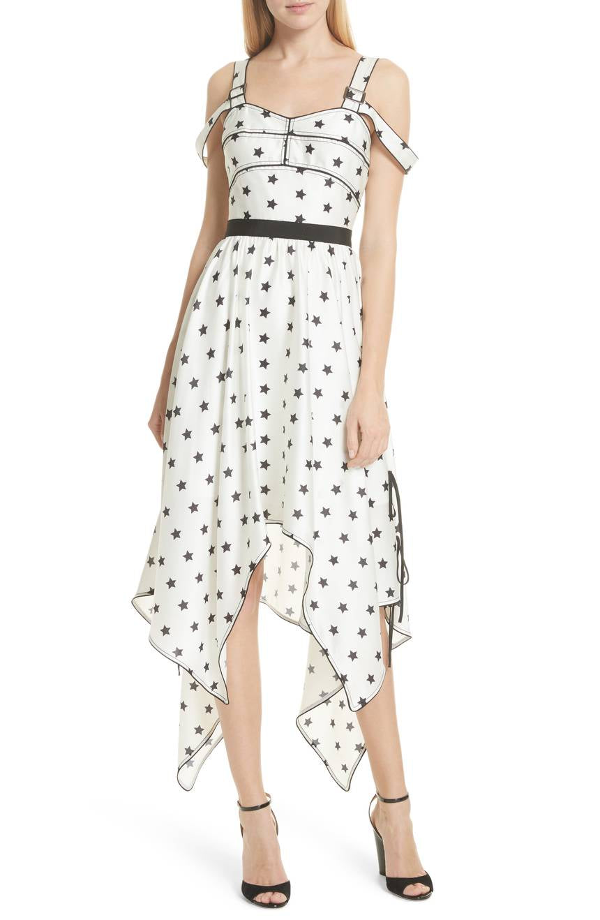 SELF-PORTRAIT Star Print Handkerchief Hem Dress