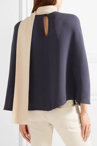 VALENTINO-Cape-effect silk-cady blouse